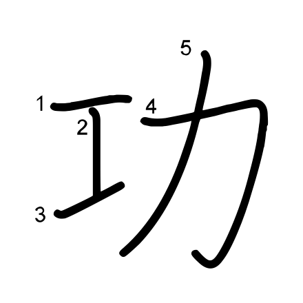功」の書き順 | 漢字の書き順
